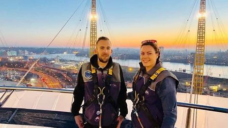 Jamie and Amy on top of the O2. Picture: Supplied by Jamie's family