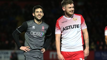 Tom Pett and Ben Kennedy share a joke during Stevenage's game with Lincoln City in 2018. Picture: DANNY LOO