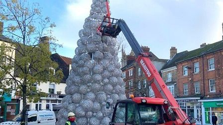 Setting up the new Christmas tree in Wisbech. Picture: Kim Taylor