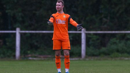 Harpeden Town goalkeeper Alex Desmond saved a penalty on a good evening for him and the team against Leighton Town.