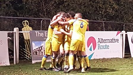Harpenden Town celebrate their goal in the 1-0 Spartan South Midlands League Premier Division win over Leighton Town at...