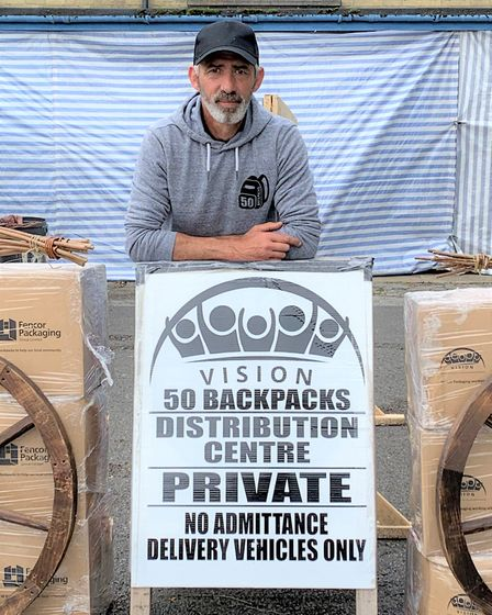 Simon Crowson, again co-ordinating the work of 50 Backpacks ahead of second lockdown. Picture; 50 Backpacks