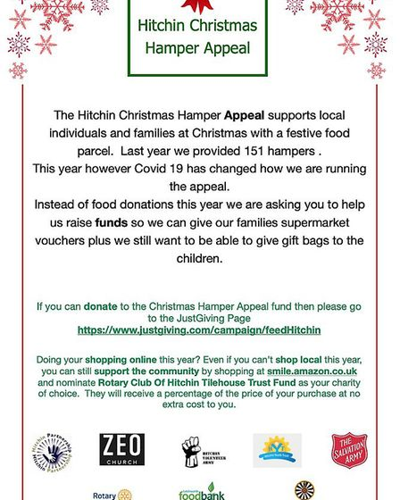 Hitchin Volunteer Army's Christmas Hamper Appeal poster. Picture: Lorna Hemmings