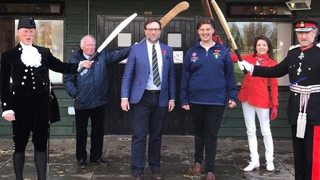 From left to right: High Sheriff of Hertfordshire, Henry Holland-Hibbert; Chairman of the MCC, Gerald Corbett DL; Club...