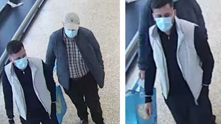Do you recognise these men? Police appeal after man in 70s has ?1,500 bank card theft. Picture: CAMBS POLICE