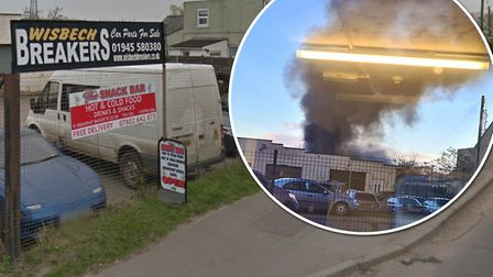 Multiple vehicles, a stack of tyres and a building caught fire at Breakers salvage garage in Wisbech. Picture: Google...