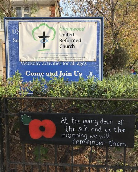 St Albans Rainbow Trail's Remembrance pictures. Anna Barrett of Greenwood URC.