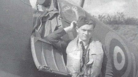 Philip Cardell standing beside his 603 Squadron Spitfire