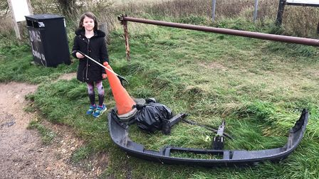 Megan Harrop at the Therfield Heath litter pick. Picture: Clare Swarbrick