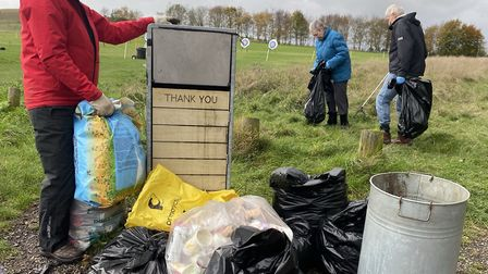 Colin Smith with other volunteers at the Therfield Heath litter pick. Picture: Clare Swarbrick