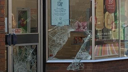 Boots Windows on Huntingdon High Street smashed PICTURE: Archant