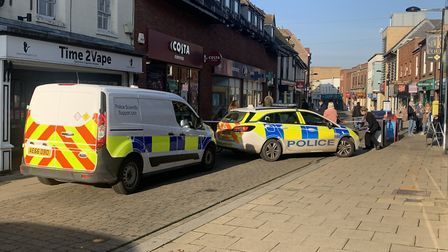 Part of Huntingdon High Street Cordoned off PICTURE: Archant