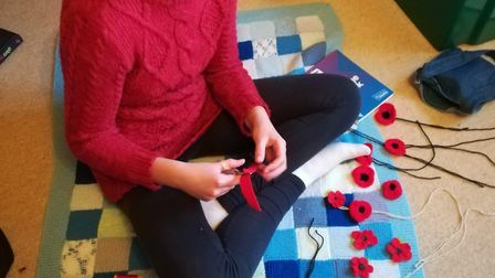 Guide, Ella Hughes, 12, has been working hard making yarn poppies for the displays around Orwell.