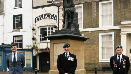 Wreath-laying at the Thinking Soldier in Huntingdon.