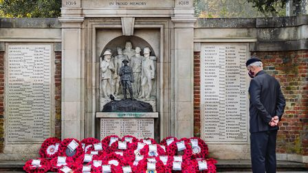 Vincent Farlow, formerly of the Royal Corps of Transport plus 15 years in the Royal Engineers, at the Royston War Memorial...