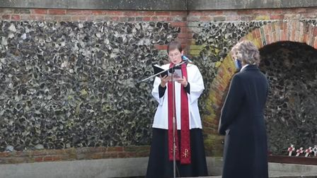 The socially distanced Royston Remembrance Sunday service at the war memorial led by Rev Heidi Huntley. This year's...