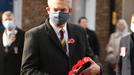 MP Steve Barclay attending Remembrance Sunday commemorations in Wisbech. Pictures: Steve Barclay on Facebook