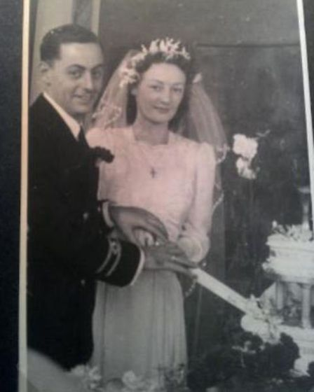 Kathleen and Donald cut the wedding cut in 1947. Picture: FAMILY