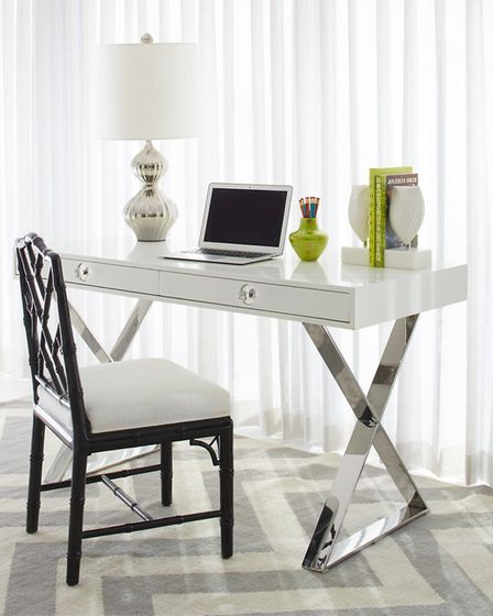 Jonathan Adler Channing Desk with white lacquer finish and criss-crossed polished nickel legs, from Sweetpea & Willow.