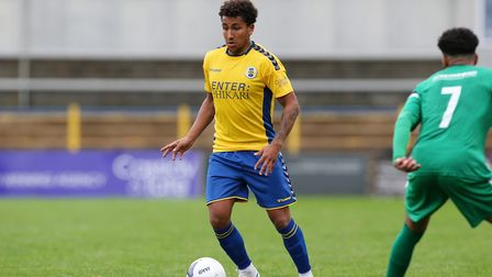 Zane Banton got St Albans City's first goal against Braintree Town. Picture: DANNY LOO