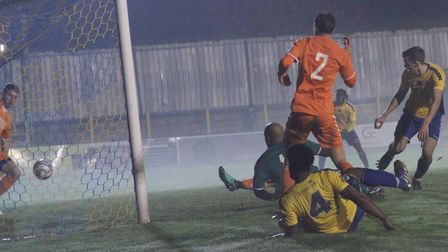 Kyran Wiltshire supplies the cross and Mitchell Weiss scores the winner for St Albans City against Braintree Town.
