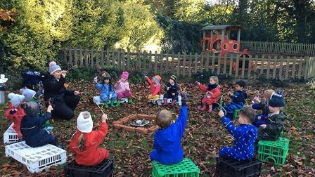 Pupils at Roundwood Primary School, Harpenden headed out of the classroom for Outdoor Classroom Day. Picture: Roundwood...