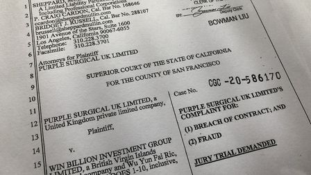 Purple Surgical UK Ltd, based in Shenley, has filed a lawsuit in San Francisco, California, alleging 'fraud' and 'breach...