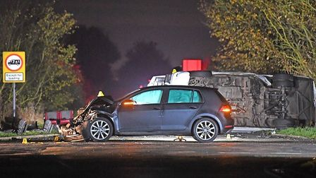 The scene in November 2019 where a minibus and a car were involved in a collision. Picture: Joe Giddens/PA Wire/PA Images