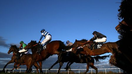 Runners and riders in the Download The tote App Handicap Hurdle at Huntingdon Racecourse. Picture: TIM GOODE/PA