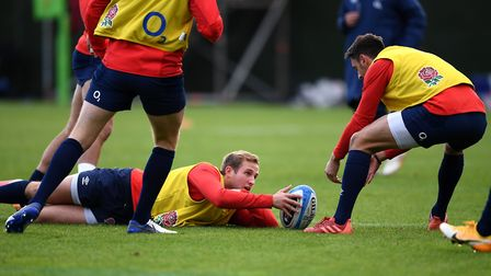 England's Max Malins (centre) during the training session at The Lensbury Hotel, London. Picture: ALEX DAVIDSON/PA