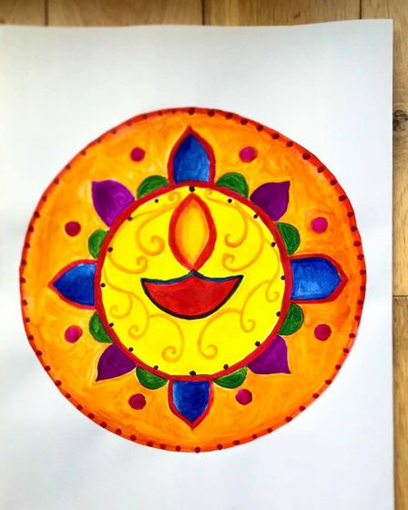 Brightly coloured Diwali-thermed picture by Charlie, Harrison and Preet Cox. Picture: Preet Cox