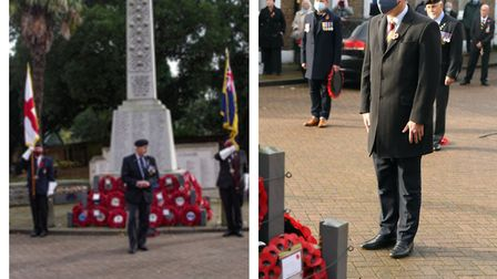 RBL chairman Toby North flanked by the Royal British Legion Standard, carried by Gregory Heath and the Standard of the...
