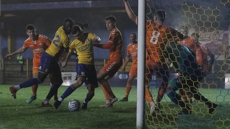 Mitchell Weiss in action for St Albans City against Braintree Town. Picture: JIM STANDEN