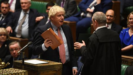 Boris Johnson during the swearing in of Parliament. Photograph: UK Parliament/Jessica Taylor/PA Wire