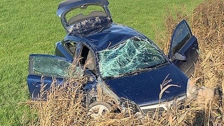 The black Vauxhall Astra left the A47 in Wisbech on November 12, causing extensive damage to the exterior of the car.