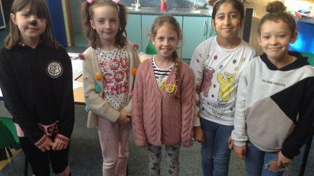 Pupils at Crosshall Junior School in their spotty clothes.