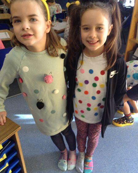 Pupils at Crosshall Junior School dressed up in spotty clothes to raise money for CiN.