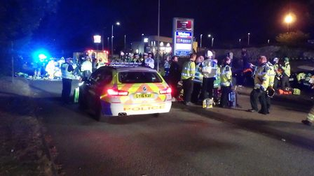 Emergency services at the scene of the crash that injured 19 in July 2019, Stevenage. Picture: Magpas Air Ambulance