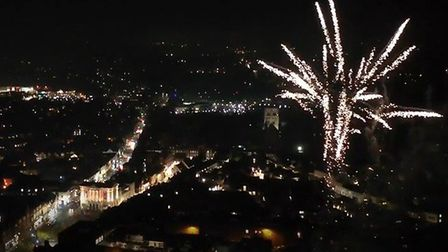 Drone footage of St Albans Cathedral fireworks by Robin Hamman.