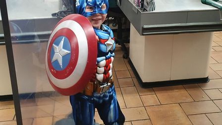 Leon Pileborg Dunnster dressed up as Captain America and Thor and raised a whopping £341.49 for Children in Need. Picture:...