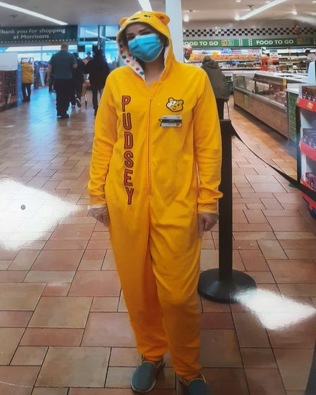 Pudsey made a guest appearence at St Albans' Morrisons on Friday for Children in Need. Picture: Morrisons St Albans