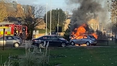 Cambridgeshire Fire and Rescue Service at car fire in Huntingdon.