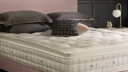 Monochrome Rose Look, undressed: Hypnos Pillow Top Astral mattress with a platform top shallow divan and Emily headboard...
