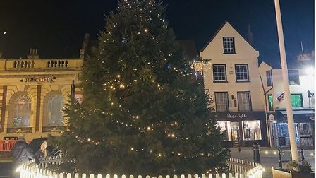 This year's Christmas tree in Hitchin's Market Place. Picture: Tom Hardy
