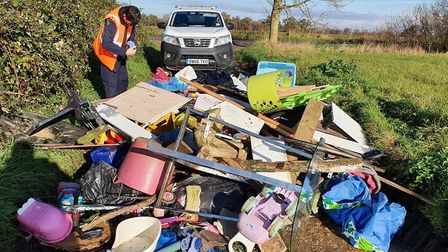 Fly tipping address found in rubbish mound dumped in Ramsey. Picture: HDC