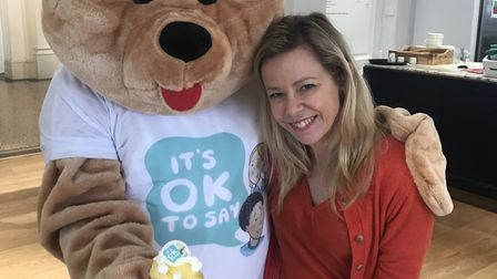 It's OK To Say's Stacey Turner with the charity's bear mascot.