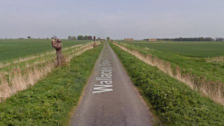 Wallace's Drove, Thorney, where a man has died in a two-vehicle collision today. Police are at the scene. Picture: GOOGLE