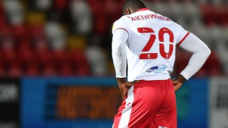 Femi Akinwande of Stevenage at the final whistle of their game with Bolton Wanderers. Picture: DAVID LOVEDAY/TGS PHOTO