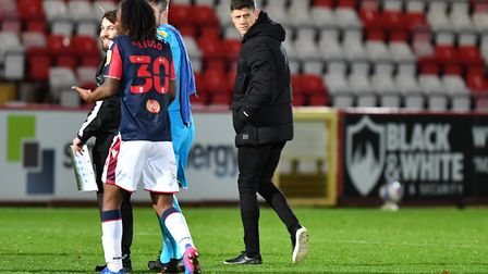Stevenage manager Alex Revell at the final whistle of their match with Bolton Wanderers. Picture: DAVID LOVEDAY/TGS PHOTO