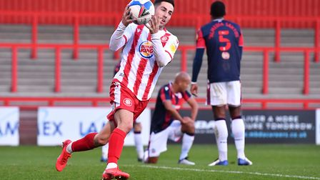 Tom Pett pulled one back for Stevenage on the stroke of half-time against Bolton Wanderers. Picture: DAVID LOVEDAY/TGS PHOTO